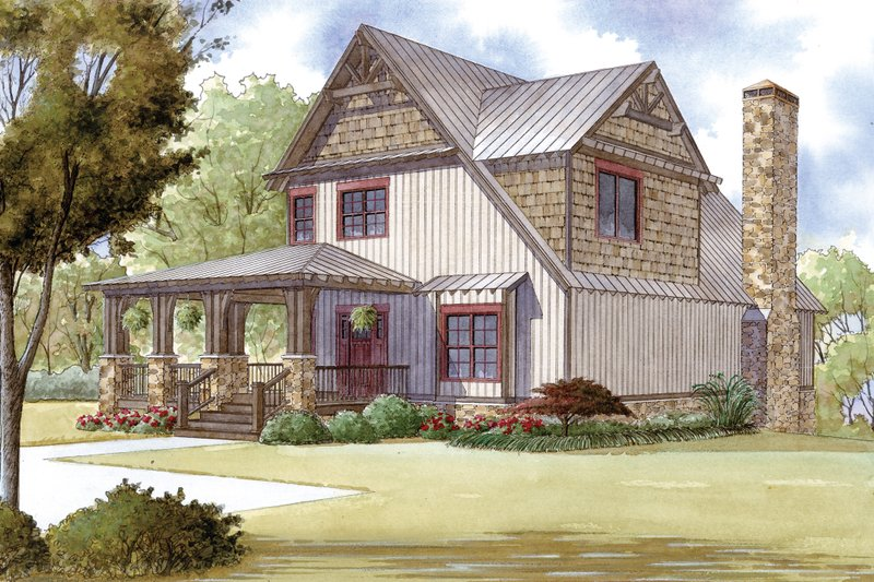 Cabin Exterior - Front Elevation Plan #923-25