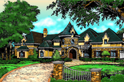 European Style House Plan - 4 Beds 5.5 Baths 6250 Sq/Ft Plan #135-101 Exterior - Front Elevation