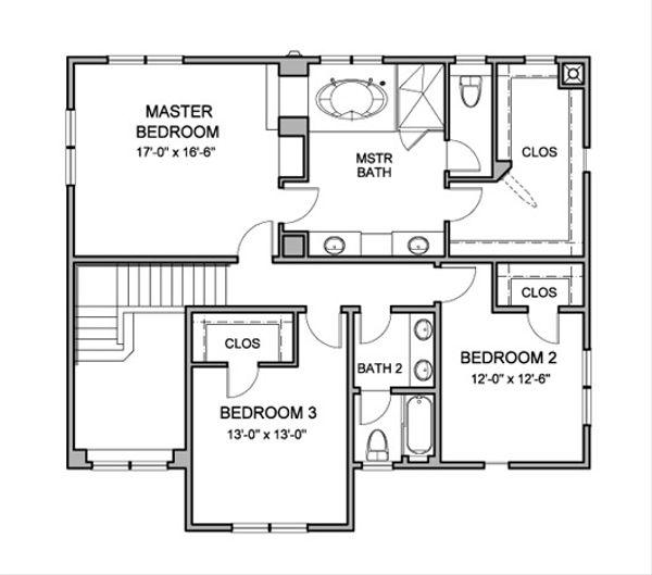 Traditional Floor Plan - Upper Floor Plan Plan #490-22