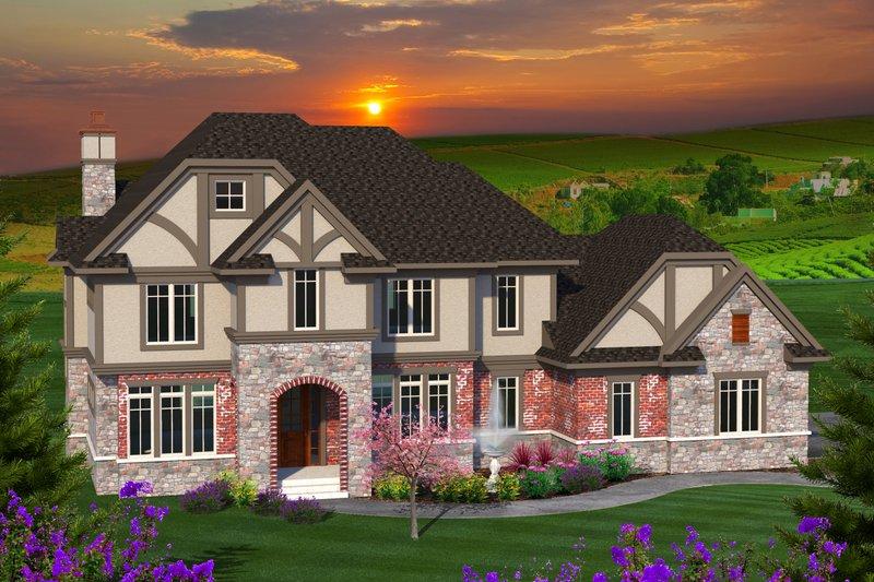 Tudor Exterior - Front Elevation Plan #70-1205