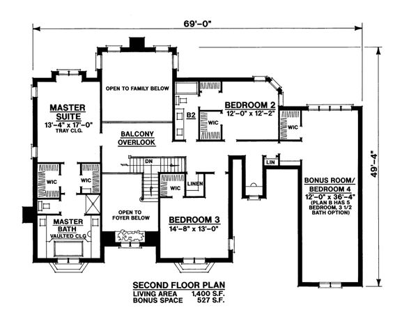 Traditional Floor Plan - Upper Floor Plan Plan #20-2300