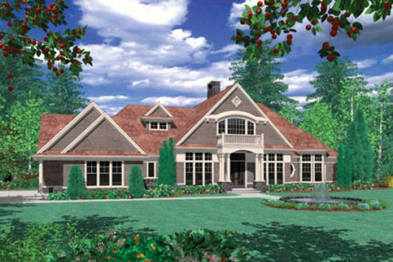 Traditional Exterior - Rear Elevation Plan #48-347 - Houseplans.com