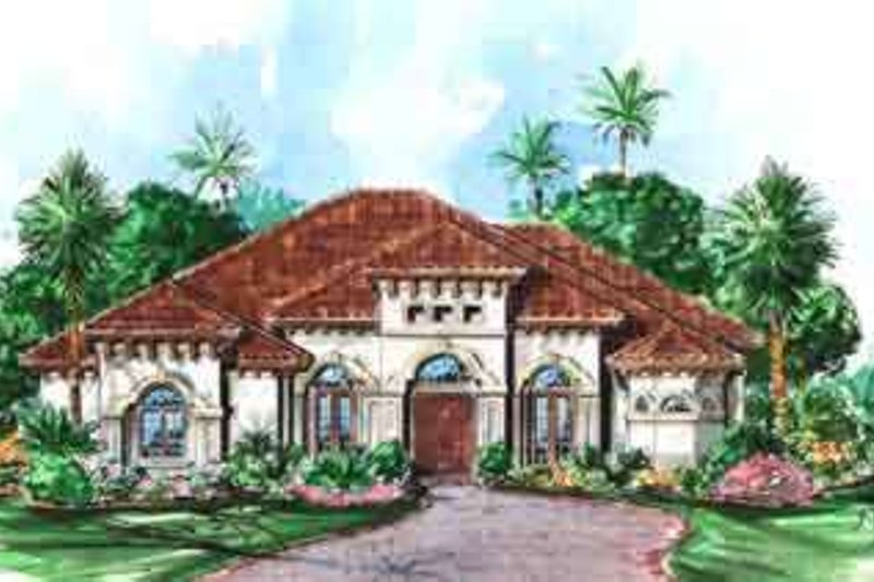 European Style House Plan - 4 Beds 4 Baths 3274 Sq/Ft Plan #27-320 Exterior - Front Elevation