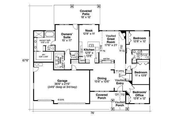 Ranch Floor Plan - Main Floor Plan Plan #124-1124