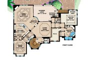 Mediterranean Style House Plan - 5 Beds 4.5 Baths 6162 Sq/Ft Plan #27-397 Floor Plan - Main Floor