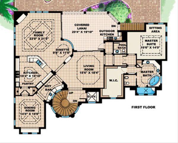 Mediterranean Floor Plan - Main Floor Plan #27-397