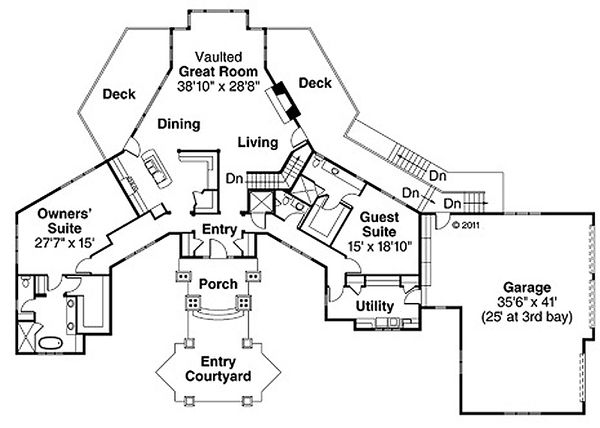 Craftsman Floor Plan - Main Floor Plan Plan #124-848