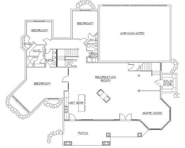 House Plan Design - European Floor Plan - Lower Floor Plan #5-406