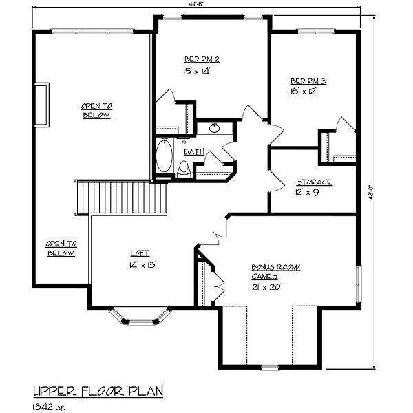 European Floor Plan - Upper Floor Plan Plan #320-483