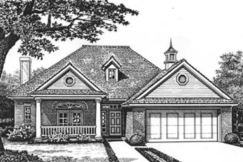 European Style House Plan - 3 Beds 2 Baths 1701 Sq/Ft Plan #310-575 Exterior - Front Elevation