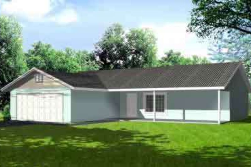Ranch Style House Plan - 3 Beds 2 Baths 1348 Sq/Ft Plan #1-1203 Exterior - Front Elevation