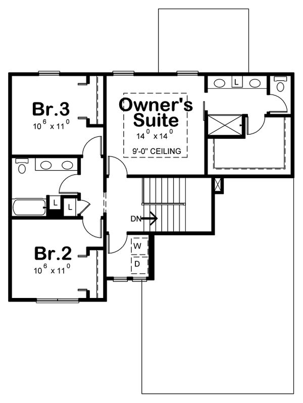 Farmhouse Floor Plan - Upper Floor Plan Plan #20-2362