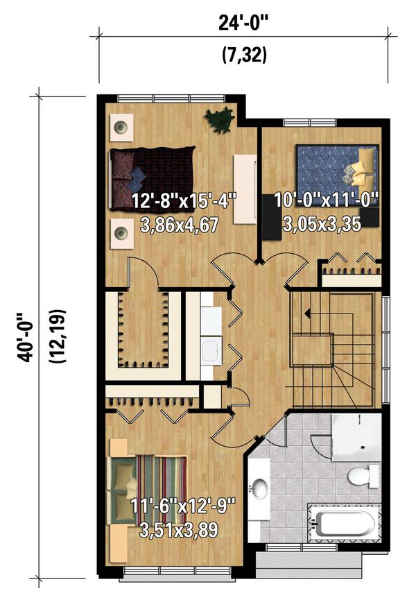 Contemporary Floor Plan - Upper Floor Plan Plan #25-4424