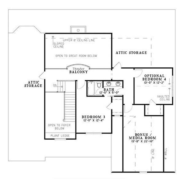 Craftsman Floor Plan - Upper Floor Plan Plan #17-2531