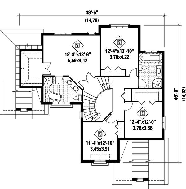 European Floor Plan - Upper Floor Plan Plan #25-4713