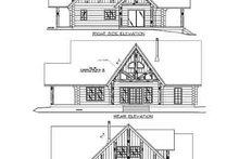Log Exterior - Rear Elevation Plan #117-120