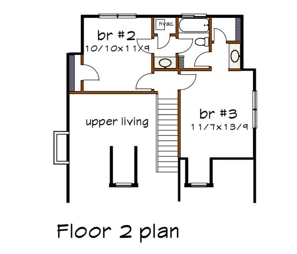 Southern Floor Plan - Upper Floor Plan Plan #79-212