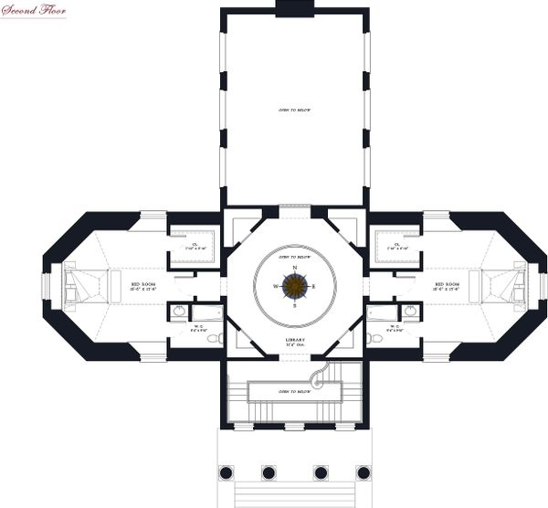 Upper Level floor plan - 5500 square foot Classical home