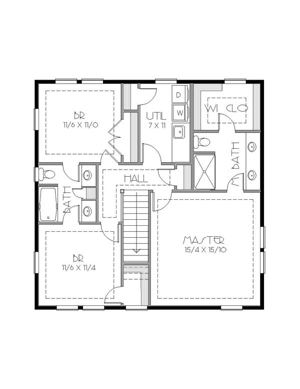 Craftsman Floor Plan - Upper Floor Plan Plan #423-64