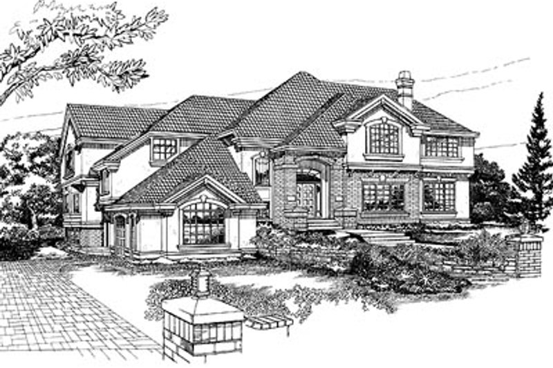 European Style House Plan - 4 Beds 5 Baths 4829 Sq/Ft Plan #47-341 Exterior - Front Elevation