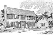 Colonial Style House Plan - 4 Beds 3.5 Baths 2500 Sq/Ft Plan #50-187 Exterior - Front Elevation