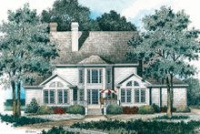 Colonial Exterior - Rear Elevation Plan #429-21