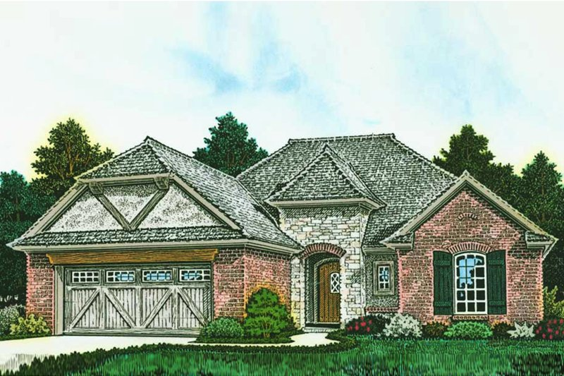 European Exterior - Front Elevation Plan #310-1285