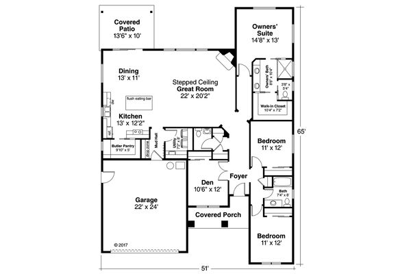Architectural House Design - Ranch Floor Plan - Main Floor Plan #124-1189