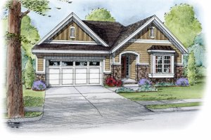 Architectural House Design - Cottage Exterior - Front Elevation Plan #20-2190