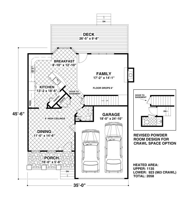 House Plan Design - Craftsman Floor Plan - Main Floor Plan #56-722