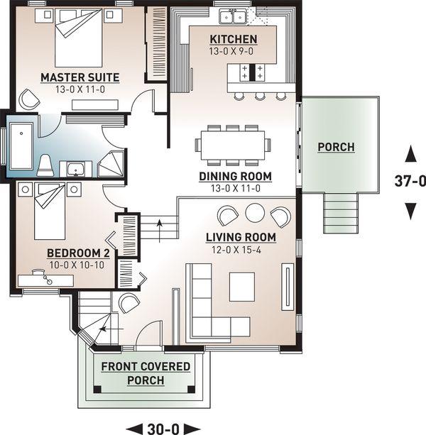 Architectural House Design - Mediterranean Floor Plan - Main Floor Plan #23-701