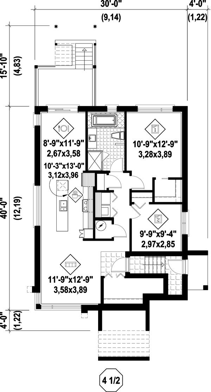 Contemporary Floor Plan - Lower Floor Plan #25-4555