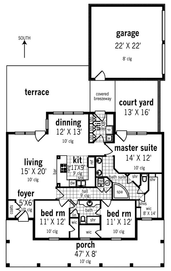 Southern Floor Plan - Main Floor Plan Plan #45-573