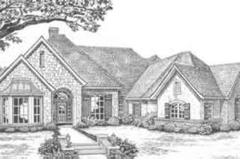 European Style House Plan - 4 Beds 3.5 Baths 2828 Sq/Ft Plan #310-387 Exterior - Front Elevation