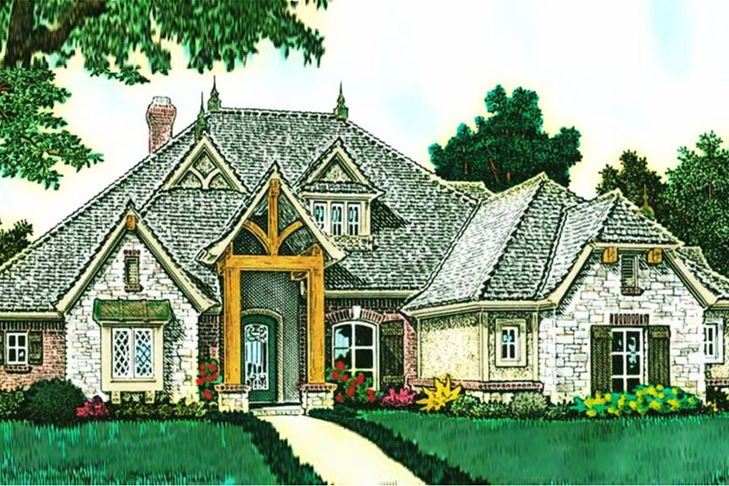 European Exterior - Front Elevation Plan #310-1291