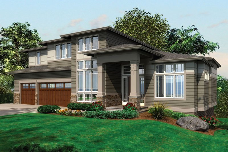 Dream House Plan - Contemporary House Plan front elevation