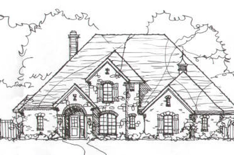 European Style House Plan - 4 Beds 3 Baths 3329 Sq/Ft Plan #141-225 Exterior - Front Elevation