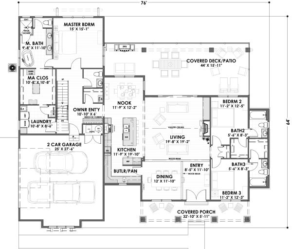 House Plan Design - Farmhouse Floor Plan - Main Floor Plan #1069-17