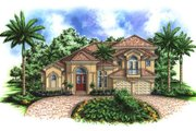 Mediterranean Style House Plan - 5 Beds 4.5 Baths 3676 Sq/Ft Plan #27-378 Exterior - Front Elevation