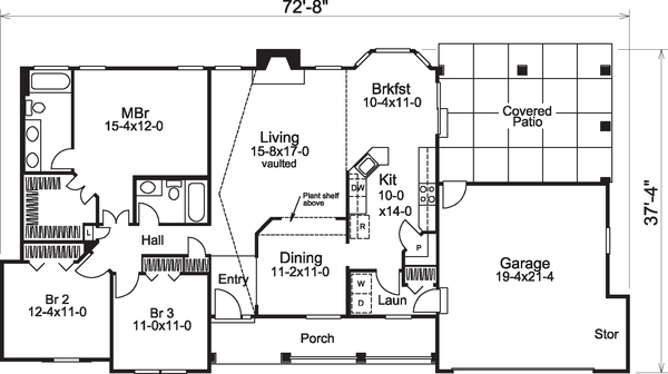 Traditional Floor Plan - Main Floor Plan Plan #57-584