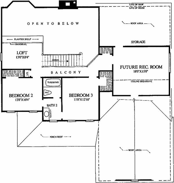 Southern Floor Plan - Upper Floor Plan Plan #137-212