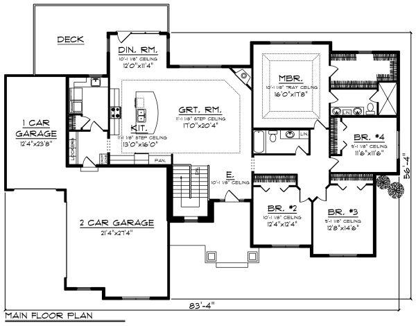 Ranch Floor Plan - Main Floor Plan Plan #70-1275