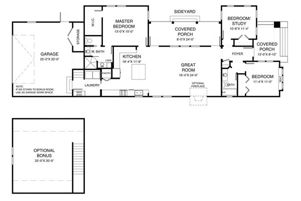 Tudor Floor Plan - Main Floor Plan Plan #900-8