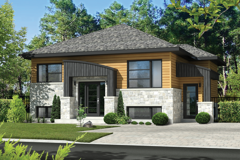 Contemporary Style House Plan - 3 Beds 2 Baths 2022 Sq/Ft Plan #25-4400 Exterior - Front Elevation