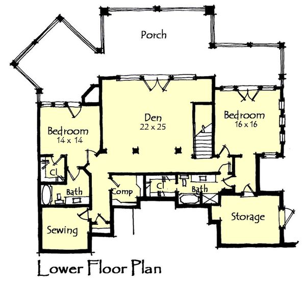Craftsman Floor Plan - Lower Floor Plan #921-17