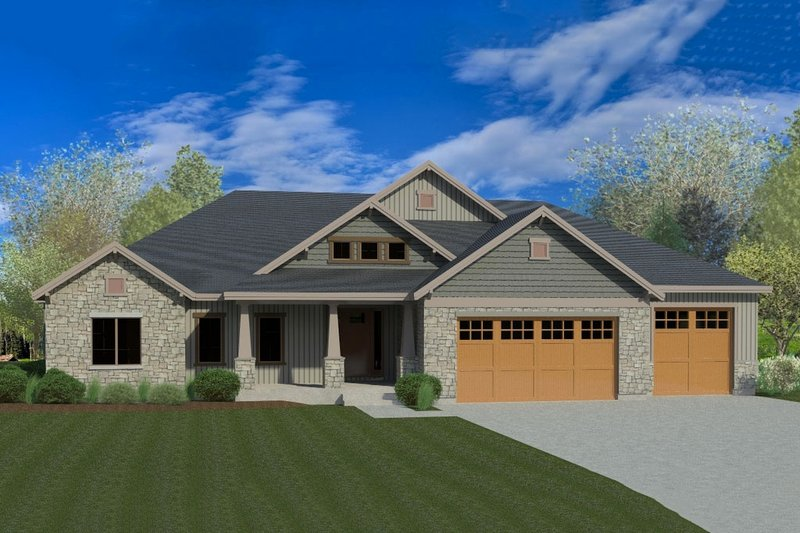 Craftsman Style House Plan - 6 Beds 3.5 Baths 4277 Sq/Ft Plan #920-22 Exterior - Front Elevation