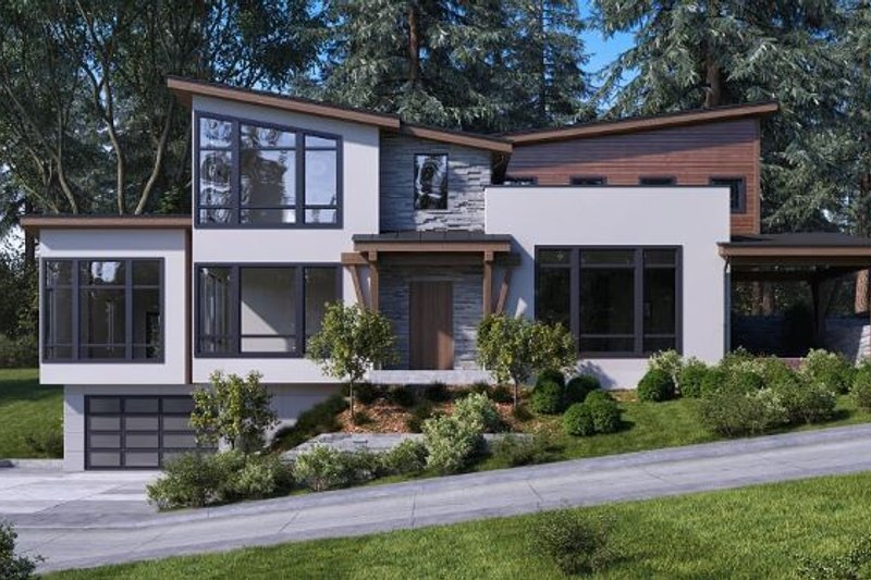 Modern Style House Plan - 3 Beds 2 Baths 3629 Sq/Ft Plan #1066-43 Exterior - Front Elevation