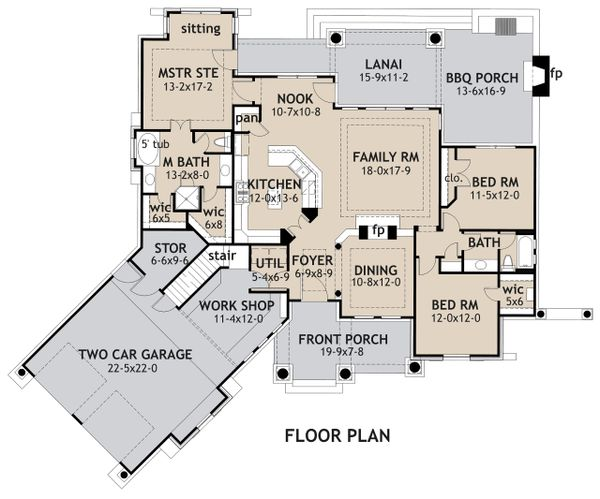 Craftsman Floor Plan - Main Floor Plan #120-171