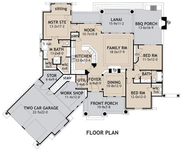 House Design - Craftsman Floor Plan - Main Floor Plan #120-171