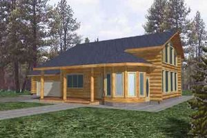 Log Exterior - Front Elevation Plan #117-109
